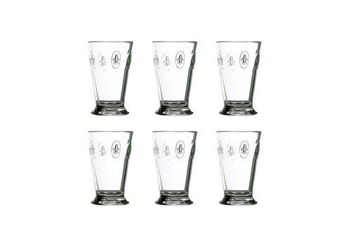 Kom Amsterdam Rochère set 6 water/latte/longdrink glazen 30 cl 'Franse Lelie'