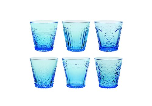 Kom Amsterdam Aqua Kom Amsterdam set 6 water/tumbler glazen 24 cl Aqua gemixt blauw