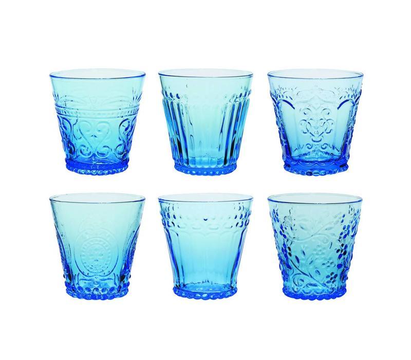 Kom Amsterdam set 6 Wasser/Tumbler Gläser 24 cl Aqua gemischt blau