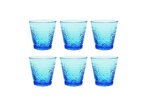 Kom Amsterdam Kom Amsterdam set 6 water/tumbler glazen 24 cl Aqua no.1 blauw