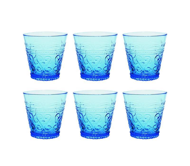 Kom Amsterdam set 6 water/tumbler glazen 24 cl Aqua no.1 blauw