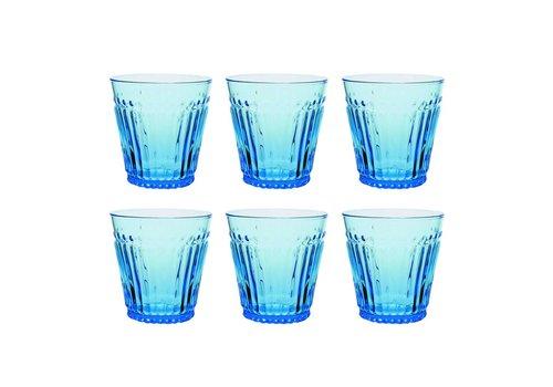 Kom Amsterdam Aqua Kom Amsterdam set 6 water/tumbler glazen 24 cl Aqua no.2 blauw