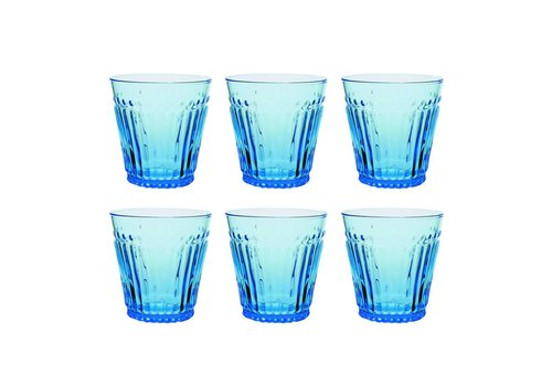 Kom Amsterdam Kom Amsterdam set 6 water/tumbler glazen 24 cl Aqua no.2 blauw