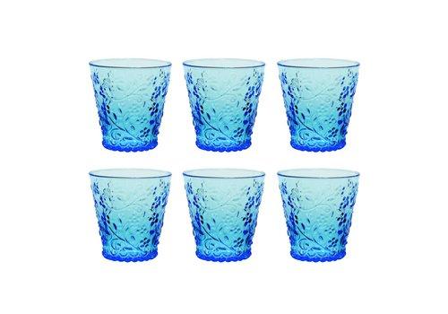 Kom Amsterdam Aqua Kom Amsterdam set 6 water/tumbler glazen 24 cl Aqua no.4 blauw