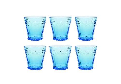 Kom Amsterdam Kom Amsterdam set 6 water/tumbler glazen 24 cl Aqua no.5 blauw