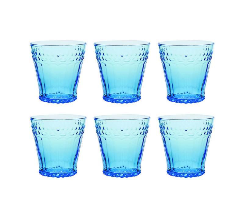 Kom Amsterdam set 6 water/tumbler glasses 24 cl Aqua no.5 blue