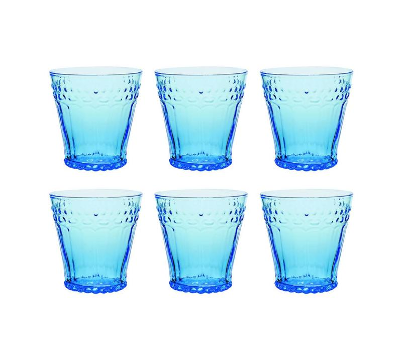 Kom Amsterdam set 6 water/tumbler glazen 24 cl Aqua no.5 blauw