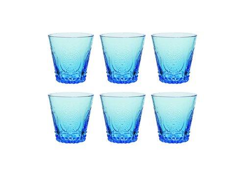 Kom Amsterdam Aqua Kom Amsterdam set 6 water/tumbler glazen 24 cl Aqua no.6 blauw