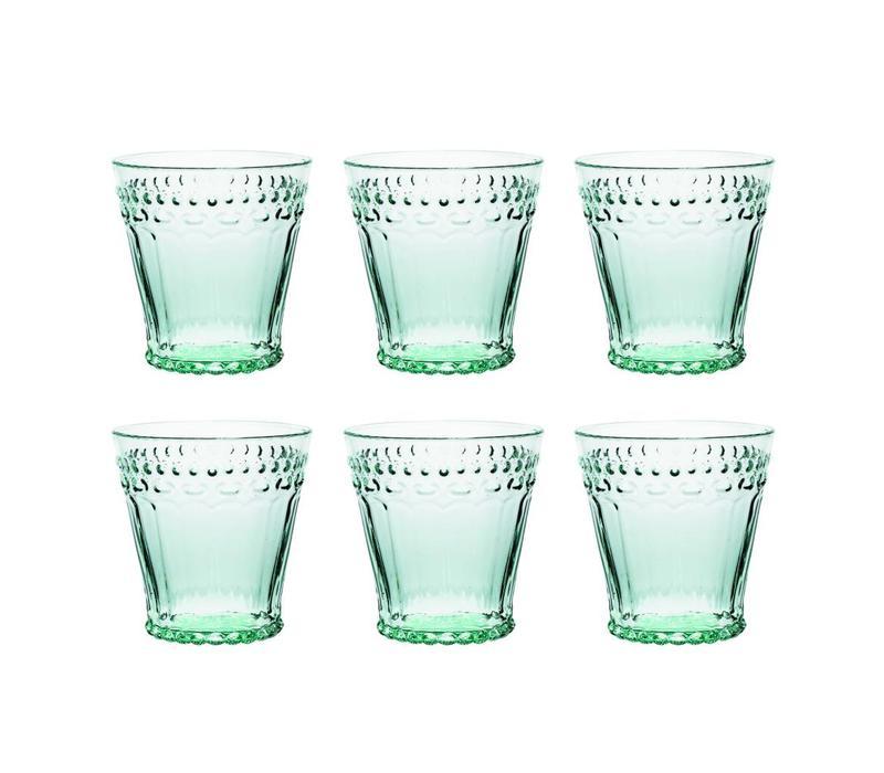 Kom Amsterdam set 6 water/tumbler glazen 24 cl Aqua no.5 mintgroen