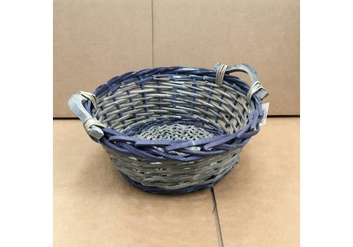 Kom Amsterdam Wicker basket round grey/blue