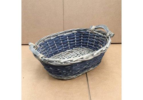 Kom Amsterdam Korbchen aus Rattan oval graublau