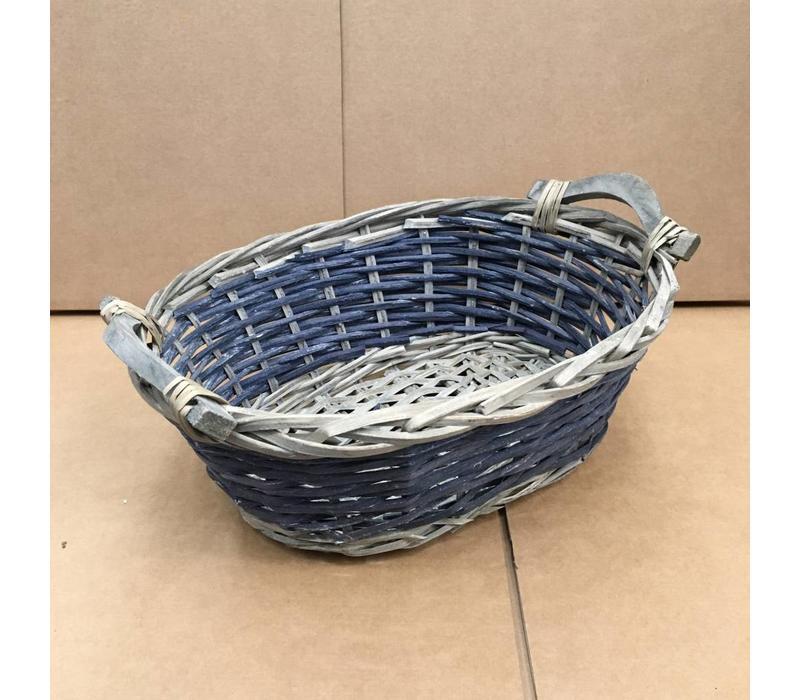 Rieten mandje ovaal grijs/blauw