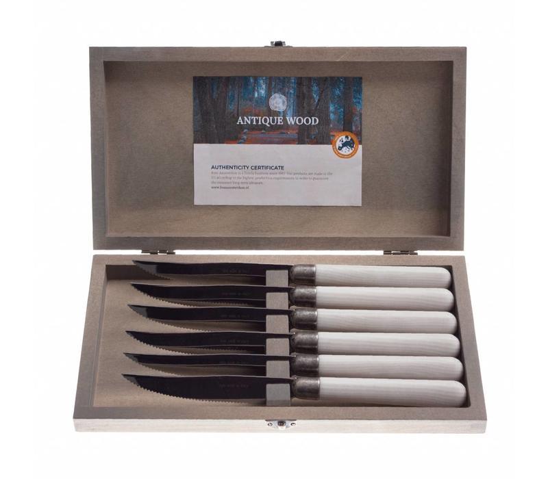 Antique Wood 6 Steakmesser in Kiste Lärche