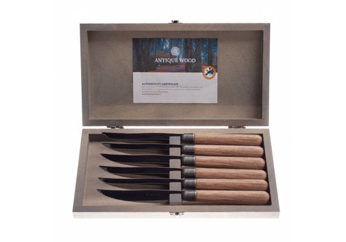 Kom Amsterdam Antique Wood 6 Steak knives 2.0 mm 'Pine' in a box