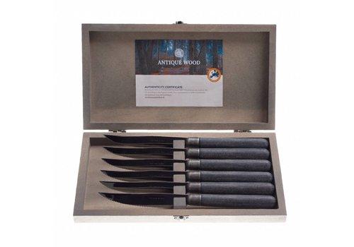 """Kom Amsterdam Antique Wood 6 Steakmesser 2,0 mm """"Wengé"""" in einer Box"""
