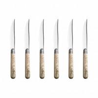 Antique Wood 6 Steak Knives in Box  French Oak