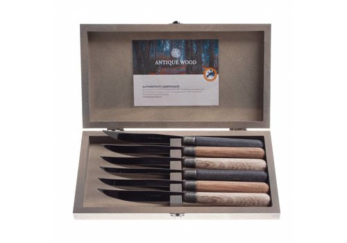 Kom Amsterdam Antique Wood 6 steak knives 2.0 mm mixed wood in box