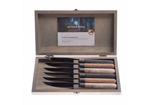 Kom Amsterdam Antique Wood 6 steakmesser 2,0 mm gemischtes Holz in Kistchen