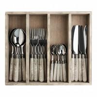 24 pcs cutlery set Antique Wood French Oak