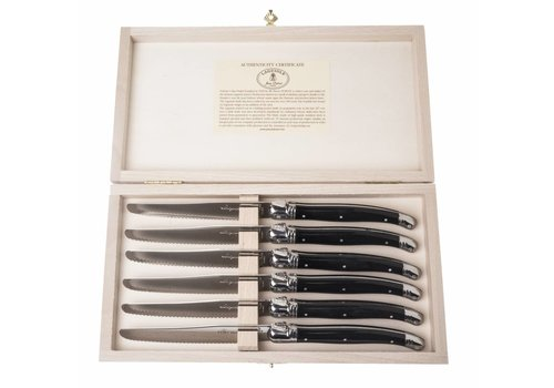 Laguiole Laguiole 6 table knives 1.5 mm black in box