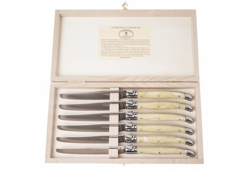 Laguiole Laguiole 6 Tafelmesser 1.5 mm Elfenbein in Kiste