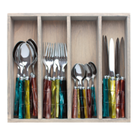 Bamboo 24 Piece Cutlery Set mixed colours
