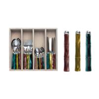 Bamboo Bestekcassette 24-delig Gemixte kleuren
