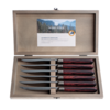 Antique Wood 6 Steak Knives in Box Rosewood