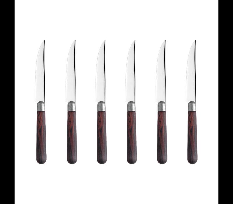 """Antique Wood 6 Steakmesser 2,0 mm """"Rosewood"""" in einer Box"""