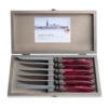 Murano Murano 6 Steakmesser in Kiste Bordeaux Rot
