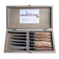 Murano 6 Steakmesser in Kiste Champagne