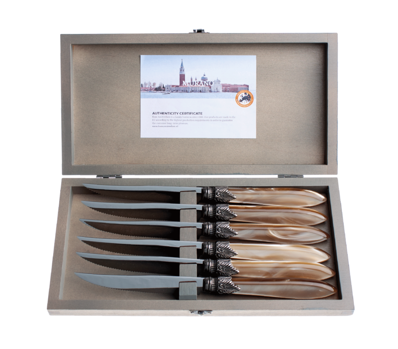 Murano 6 Steak Knives in Box Champagne