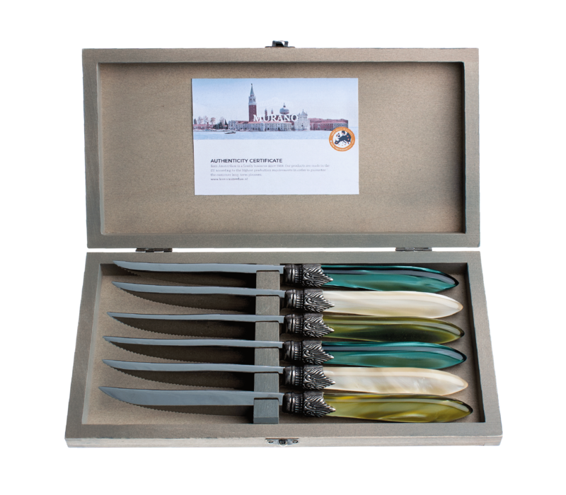 Murano 6 Steak Knives in Box Forest Mix