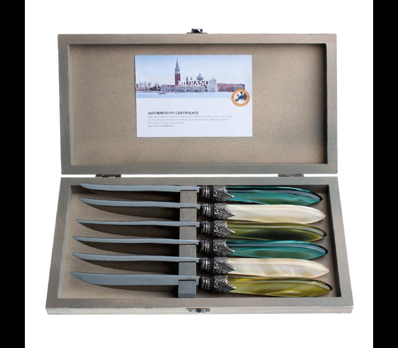 Murano 6 Steakmesser in Kiste Forest Mix