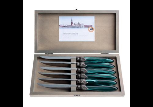 Murano Murano 6 Steakmesser in Kiste GrŸn