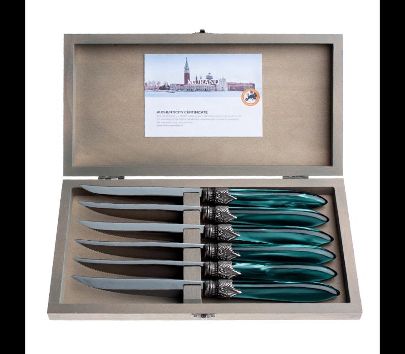 Murano 6 Steak Knives in Box Green