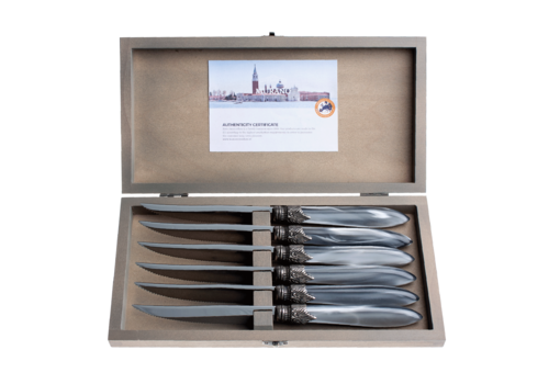 "Murano Murano 6 Steak Knives ""Light Grey"" in Box"