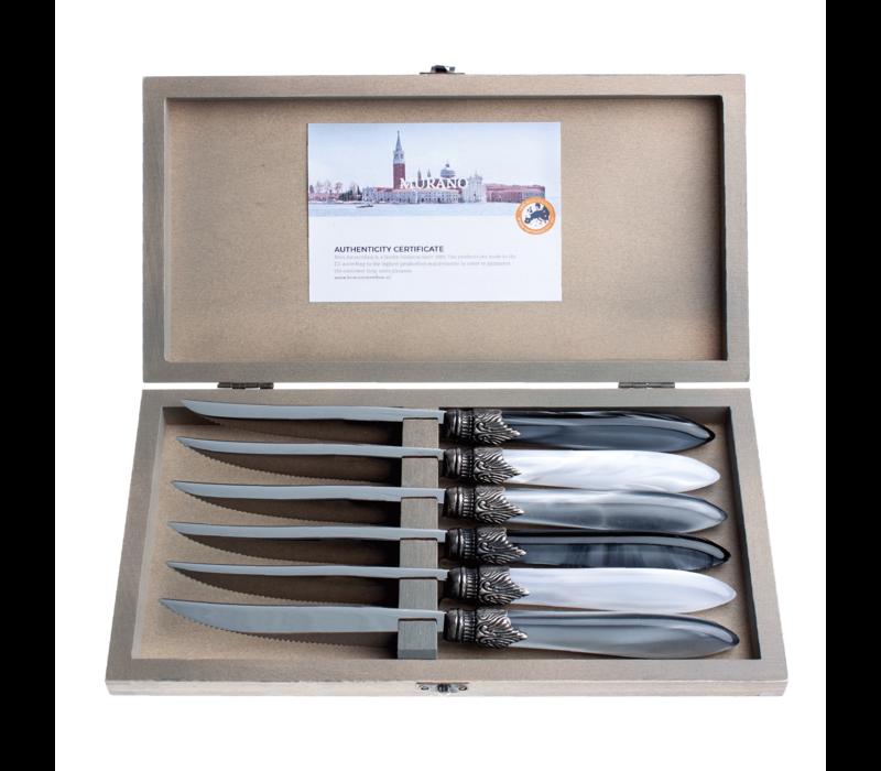 Murano 6 Steakmesser in Kiste Loft Mix