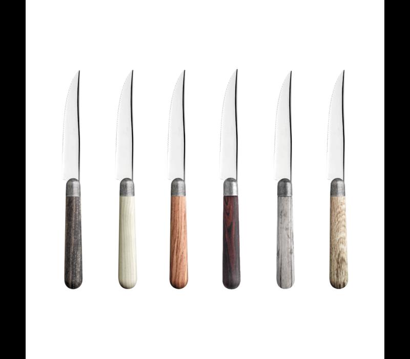 Antique Wood 6 Steak Knives in Box Full Range
