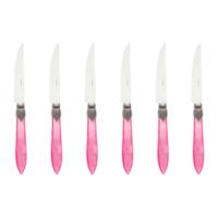 Murano 6 Steak Knives in Box Pink