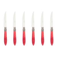 Murano 6 Steak Knives in Box Flame Red