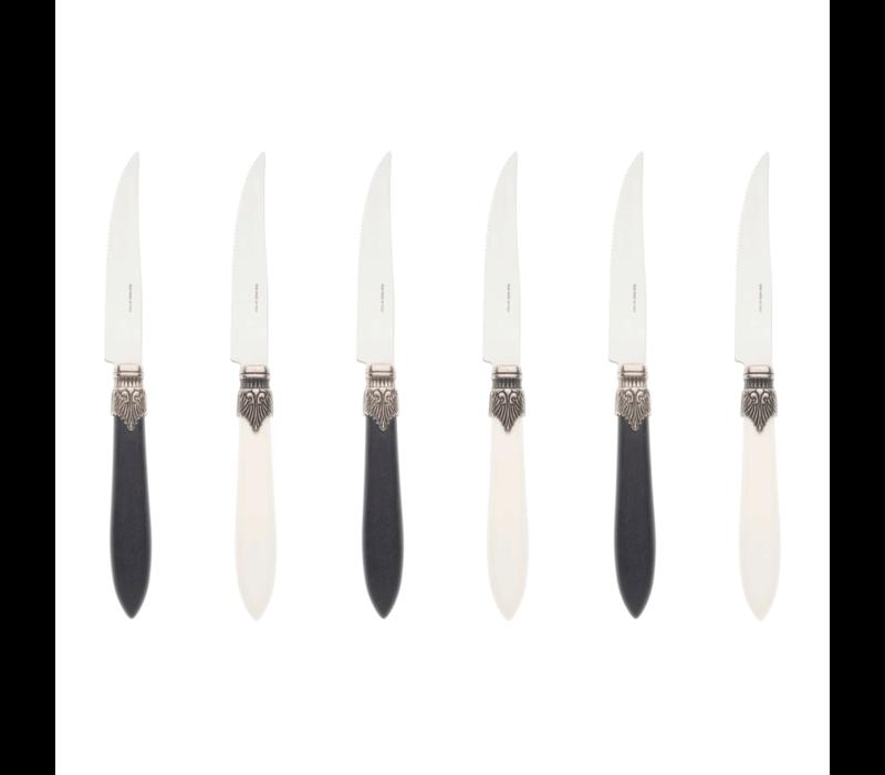 Murano 6 Steak Knives in Box Piano Mix