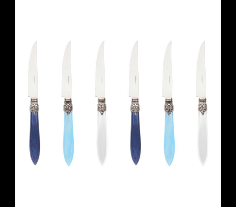 Murano 6 Steak Knives in Box Pacific Mix