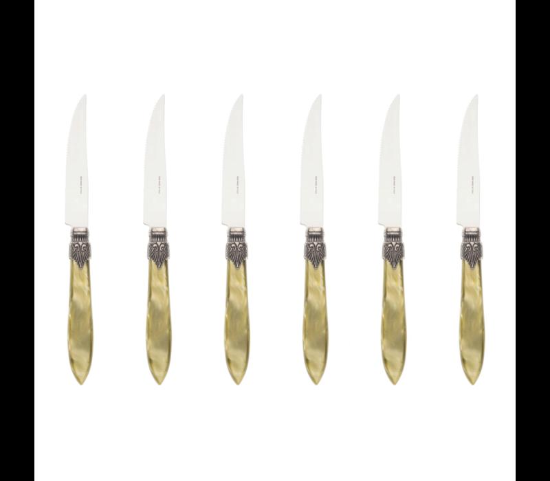 Murano 6 Steak Knives in Box Olive Green