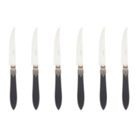 Murano 6 Steak Knives in Box Matt Black