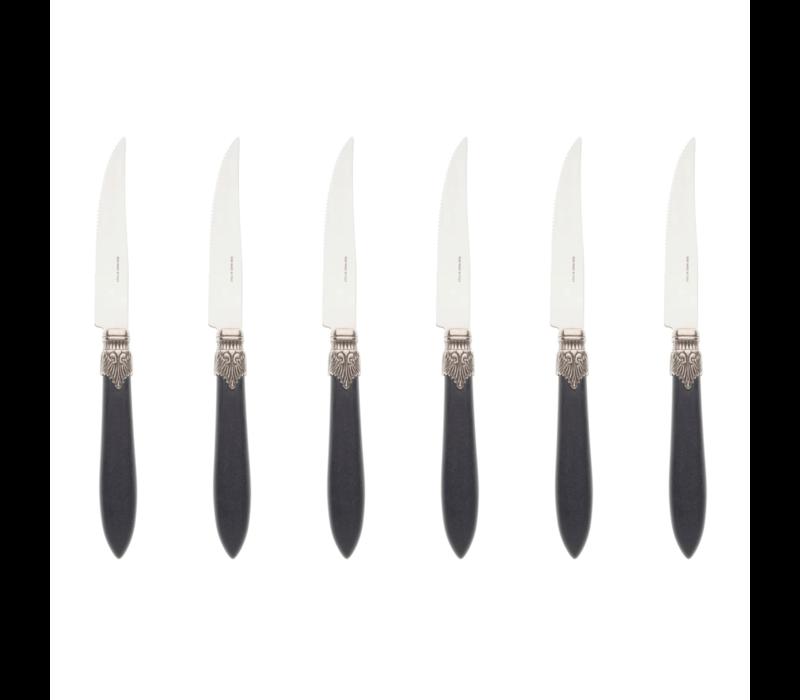 Murano 6 Steakmesser in Kiste Matt Schwarz