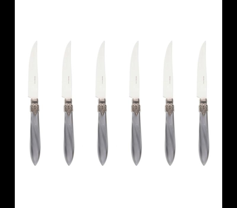 "Murano 6 Steakmesser ""Hellgrau"" in Kiste"