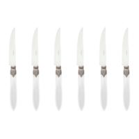 Murano 6 Steak Knives in Box Ice White
