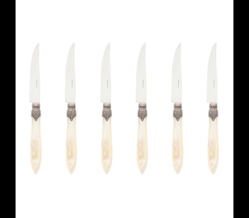 Murano 6 Steak Knives in Box Cream