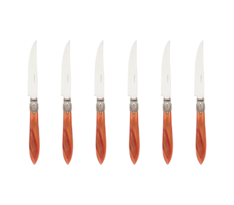Murano 6 Steak Knives in Box Brique Orange